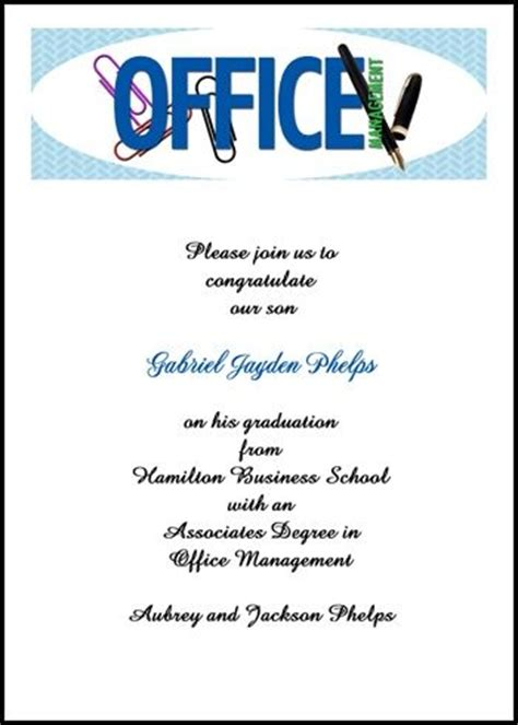 office invitation wording voted best office administration graduating announcement