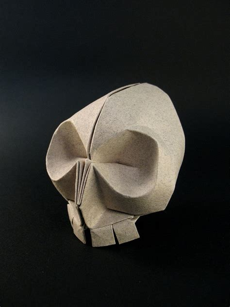 skull origami beautiful folded paper by origami artist