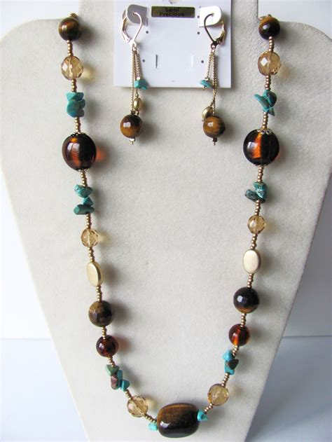 jewelry semi precious stones tiger eye turquoise semi precious stones necklace earrings