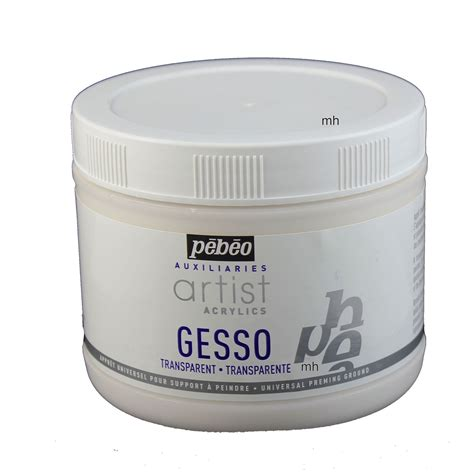 acrylic paint gesso canvas pebeo artist acrylic primer transparent gesso pot 500ml