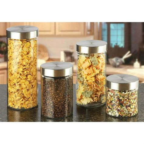 Glass Kitchen Canister Sets 4 pc glass kitchen canister set 217394 accessories