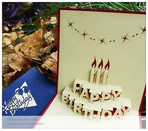 origami 3d card origami handcrafted 3d greeting card birthday with candles