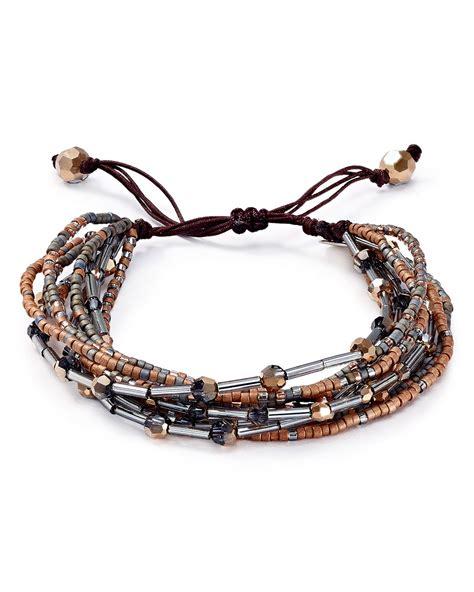 how to tie bead bracelets chan luu beaded pull tie bracelet in silver silver