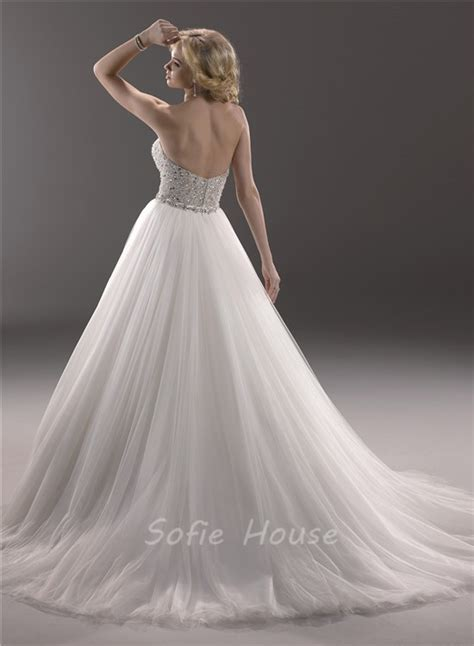 sparkly beaded wedding dresses stunning a line strapless tulle beaded sparkly