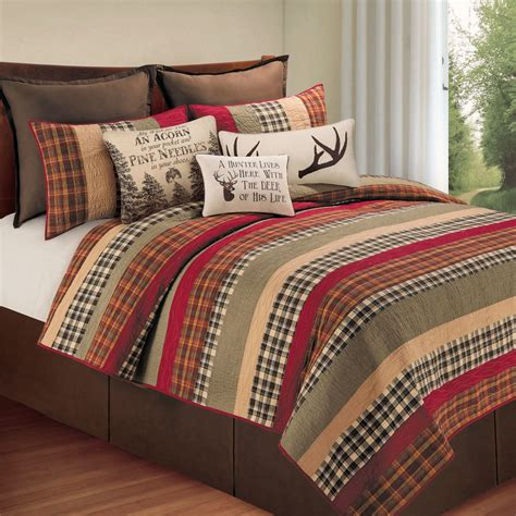 bed quilts hillside rustic plaid quilt bedding