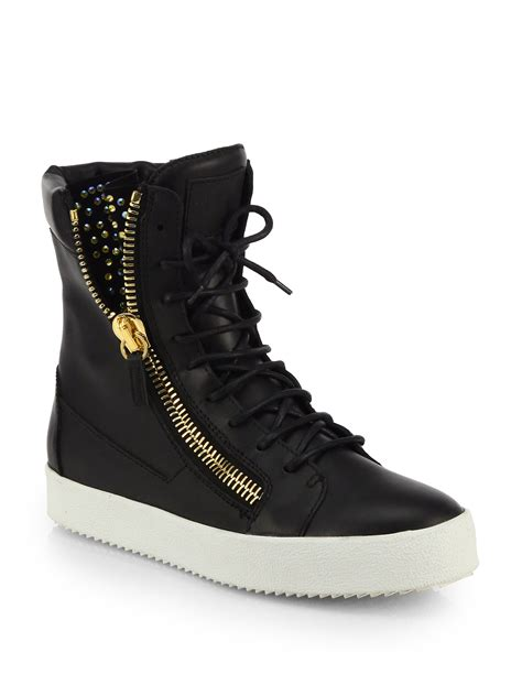 leather high top shoes for giuseppe zanotti studded leather high top sneakers in