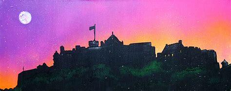 spray paint edinburgh paintings prints of edinburgh castle pink dusk