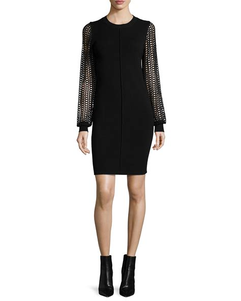 knit dress with see by chlo 233 knit dress with lace sleeves in black lyst