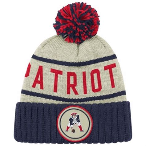 new patriots knit hat with pom new patriots mitchell ness quot oatmeal quot cuffed knit
