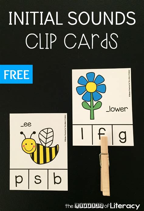 beginning card free initial sounds clip cards for beginning readers
