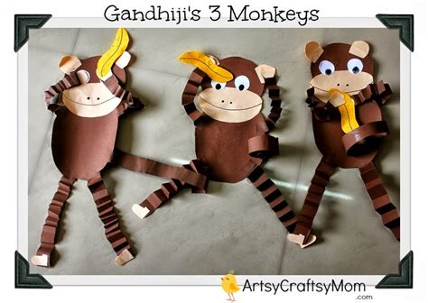 monkey crafts for gandhi jayanti monkey craft with free printable artsy