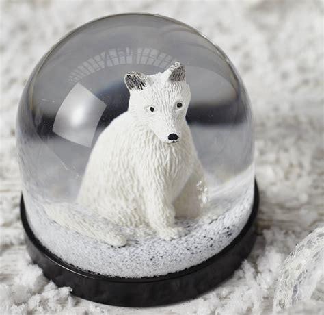 white snow globe white fox snow globe by lime lace notonthehighstreet