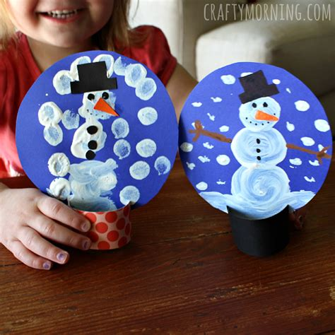 snow craft for pom pom painted cardboard snow globe craft crafty morning