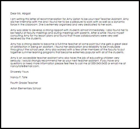 teacher assistant recommendation letter livecareer
