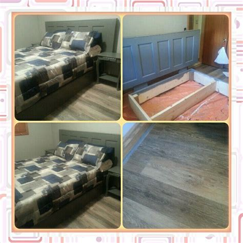 plank bed frame spare room makeover headboard from wooden door