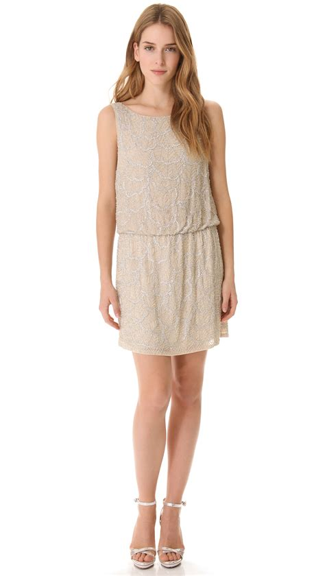 Drop Waist Beaded Dress In Beige Lyst