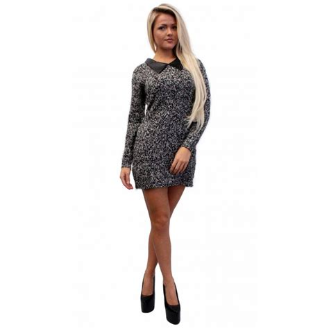 Grey Mixed Knit Dress With Leather Collar From Parisia