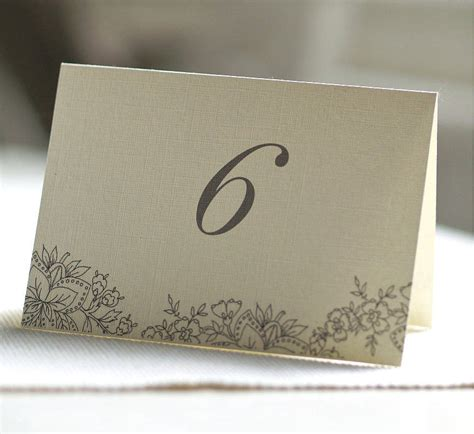 Folded Sided Table Number Cards By Beautiful Day