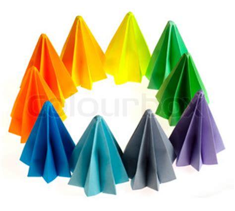 origami circle box colorful origami flower units isolated on white circle
