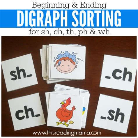 beginning card digraph sorting picture cards for beginning and ending
