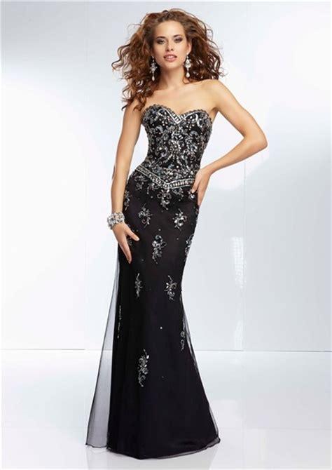 black beaded prom dress gorgeous sheath sweetheart neckline open back black