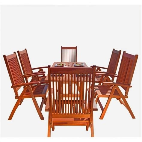patio 7 dining set 7 wood patio dining set v189set8