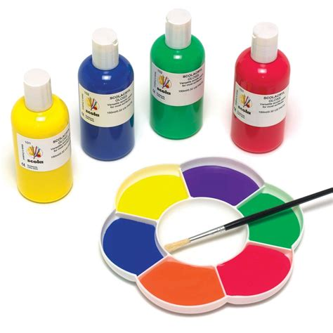 Ready Mixed Acrylic Paint Orange Purple Yellow Pink Green
