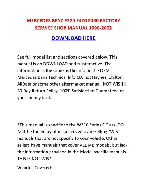 how to download repair manuals 1996 mercedes benz s class interior lighting mercedes benz e320 e420 e430 factory service shop manual 1996 2002 by heinztarrantmowxnt issuu