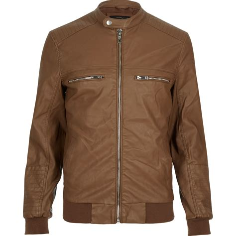 mens light brown leather jacket river island light brown leather look bomber jacket in brown for lyst