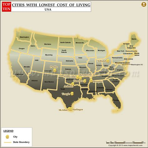 states with the lowest cost of living top 10 lowest cost of living cities in us