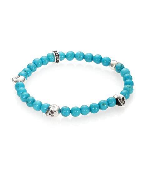 beaded turquoise bracelet king baby studio turquoise beaded bracelet in blue for
