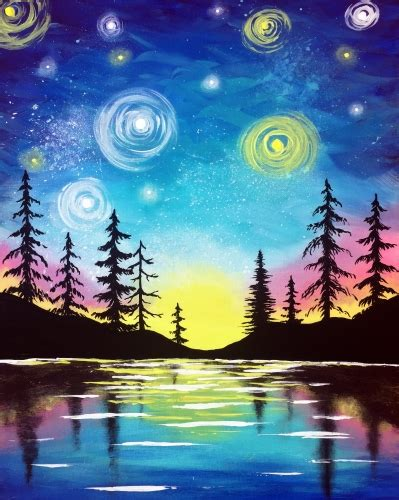paint nite minneapolis paint nite starry lake sunset saultonline