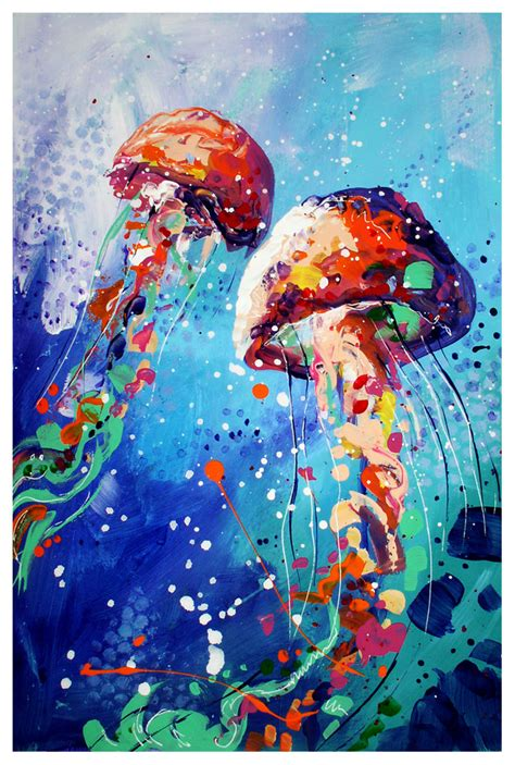 acrylic paint jellyfish jellyfish by toomuchcolor on deviantart