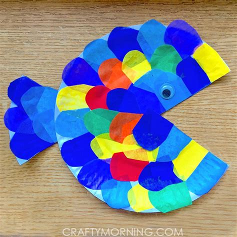 paper plate fish craft paper plate tissue paper fish craft crafty morning