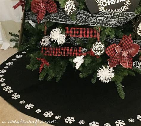 tree skirt with snowflakes chalkboard plaid tree u create
