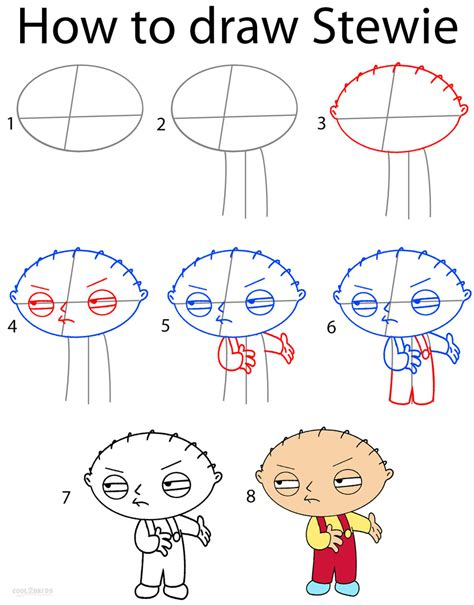 how to draw step by step how to draw stewie step by step pictures cool2bkids