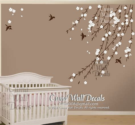 cherry blossom wall decal for nursery cherry blossom birds nursery wall decals tree vinyl wall