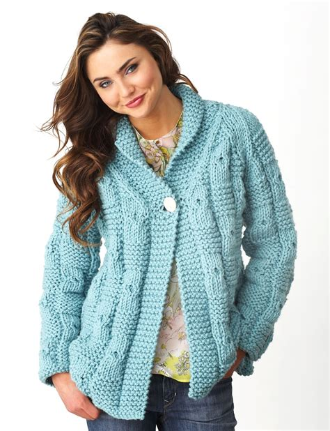 free knitted sweater patterns bernat textured checks cardigan knit pattern yarnspirations