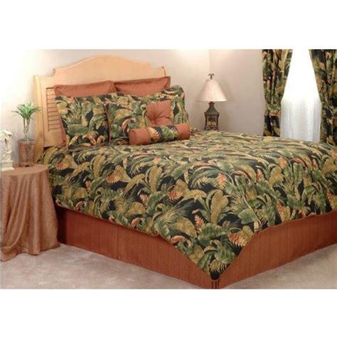 hawaiian comforter set kokomo coral black green tropical leaf bedding