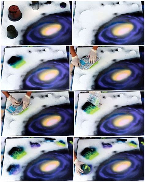 spray paint galaxy tutorial how to spray paint planets galaxy a of rainbow