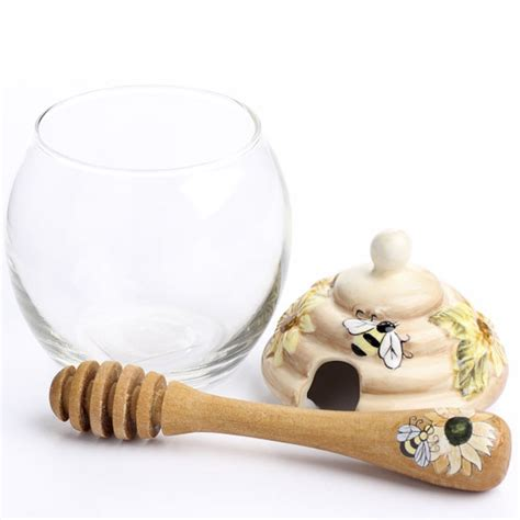 decorative glass honey jars decorative glass honey jar set kitchen and bath home decor