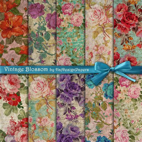 retro decoupage paper vintage blossom digital collage sheet digital paper