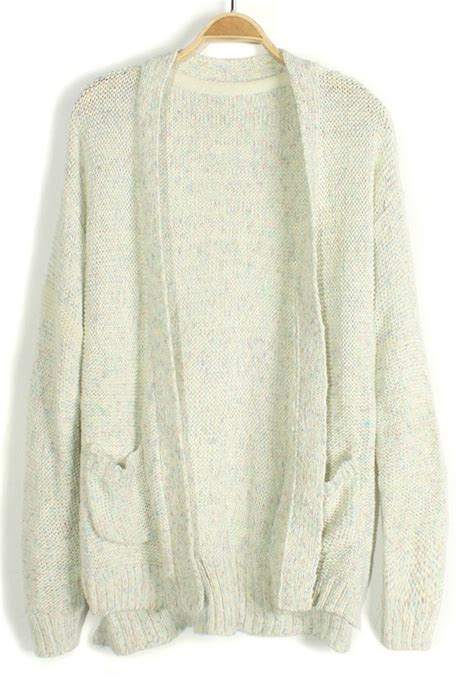 white knitted cardigan white spun gold pockets no button knit cardigan