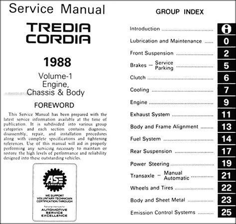 service manual automotive repair manual 1988 mitsubishi cordia instrument cluster service 1988 mitsubishi cordia tredia repair shop manual set original
