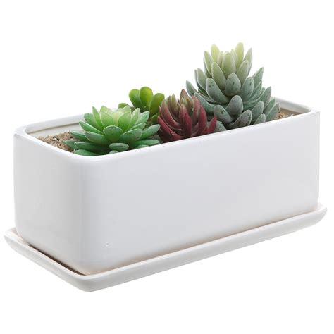 modern ceramic planter 22 10 inch rectangular modern minimalist white