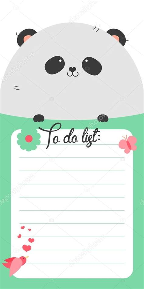 for to do to do list with panda stock vector 169 whitebarbie