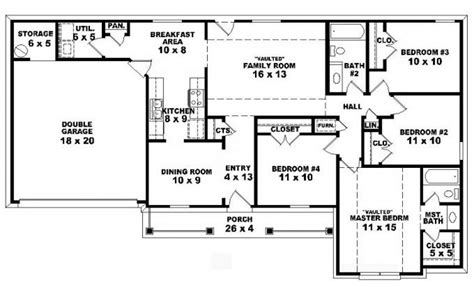 four bedroom house plans 4 bedroom one story ranch house plans inside 4 bedroom 2