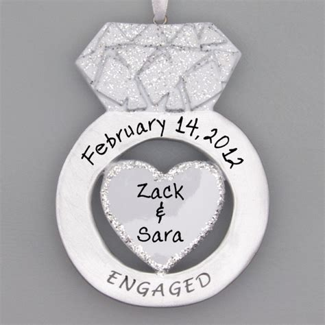 engagement ring ornaments engagement ring ornament personalized