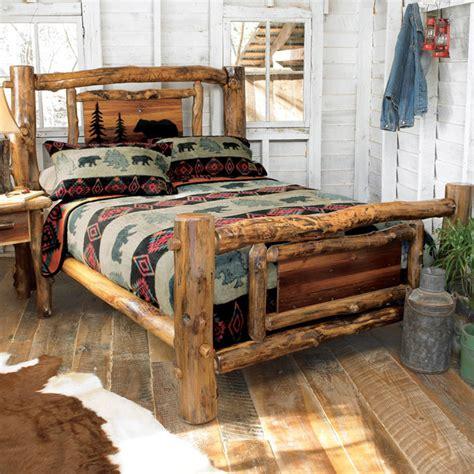 log bed set aspen log bed frame country western rustic wood bedroom