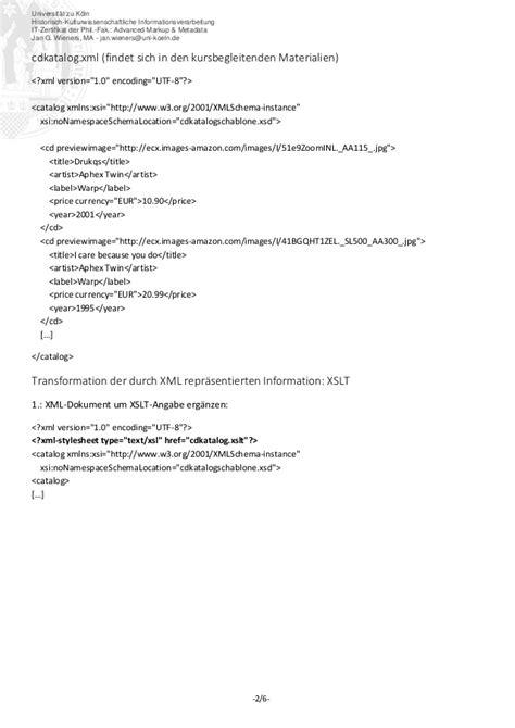 it zertifikat advanced markup amp metadata handout xslt